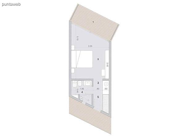 Habitaciones tipo PB y PA<br>Superficie cubierta: 26.60 m²<br>Terraza 7.40 m²<br><br>Cantidad en PB: 7<br>Cantidad en PA 8<br><br>Superficie total habitación tipo: 34 m²