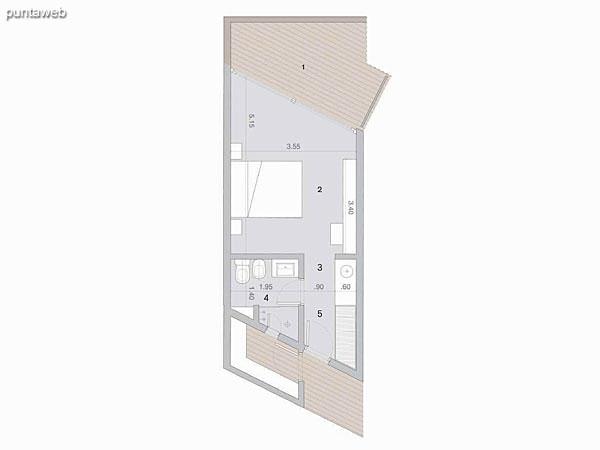 Habitación esquina PB y PA<br>Superficie cubierta: 26.60 m²<br>Terraza 9.50 m²<br><br>Cantidad en PB: 1<br>Cantidad en PA 1<br><br>Superficie total habitación tipo: 36.10 m²