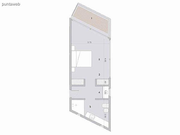 Habitación atípica en PA<br>Superficie cubierta: 37.70 m²<br>Terraza 7.00 m²<br><br>Cantidad en PB: 0<br>Cantidad en PA 1<br><br>Superficie total habitación tipo: 44.70 m²
