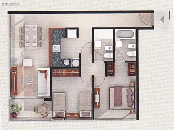 Plano de unidad 2 dormitorios. Dormitorio principal en suite. Baños completos. Living comedor integrados con acceso a terraza. Cocina con mesada en U de granito.