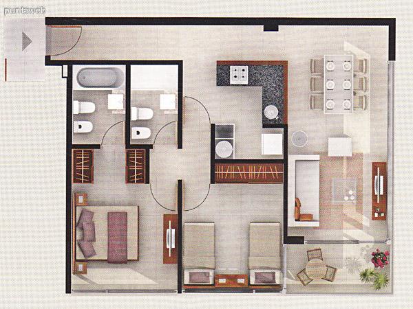 Plano de unidad 2 dormitorios. Dormitorio principal en suite. Baños completos. Living comedor integrados con acceso a terraza. Cocina con mesada en L de granito.