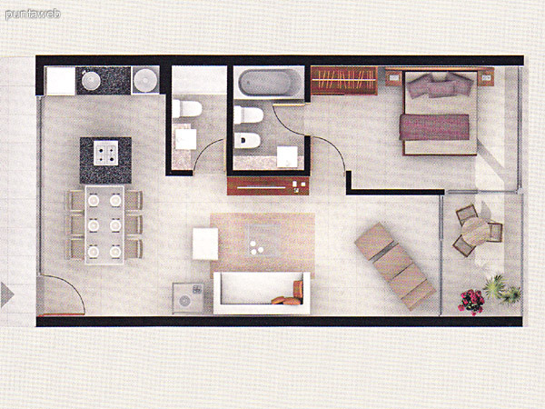Plano de unidad 1 dormitorio. Posee acceso a terraza desde el dormitorio como del living comedor. Baño completo. Cocina con mesada en linea en granito.