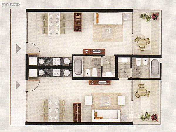 Posee acceso a terraza desde el dormitorio como del living comedor. Baño completo. Cocina integrada con isla desayunador, zona de estar y toilette.
