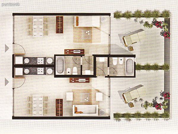 Plano de monoambientes. Cocina con mesada en linea de granito, baño completo y acceso a terraza propia.
