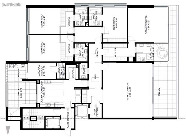 Planta descripta en la ficha, orientada al Océano Atlántico, de 382 m2 totales, con 4 dormitorios en suite más habitación de servicio con baño y toilette de visita.