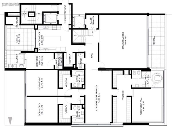 Pent House de 3 dormitorios, más estar con Home Theater, acceso independiente a azotea, ambiente cerrado y piscina propia.<br>Cuenta con una superficie total de 735 m2., totalmente orientado al Océano Atlántico.