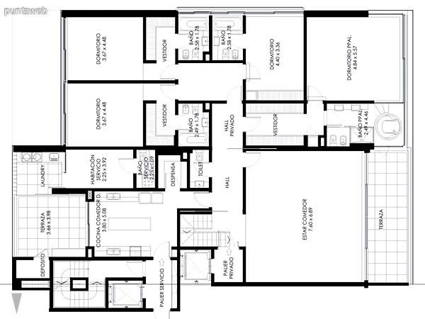 Azotea del Pent House de 3 dormitorios,se visualiza el acceso, espacio cubierto, baño, piscina y fogón.