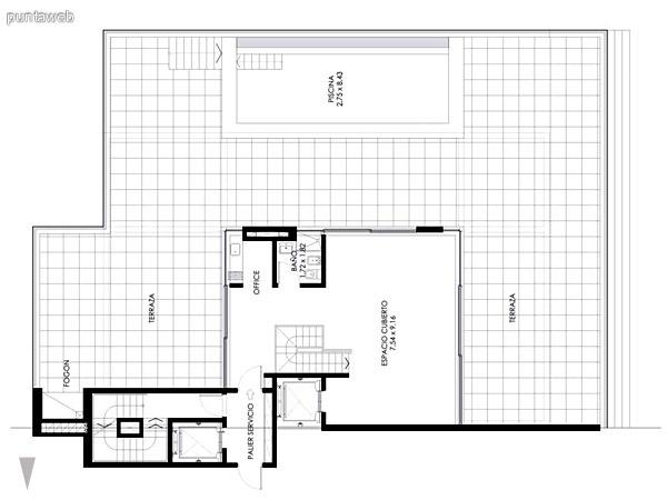 Azotea del Pent House de 4 dormitorios,se visualiza el acceso, espacio cubierto, baño, piscina y fogón.