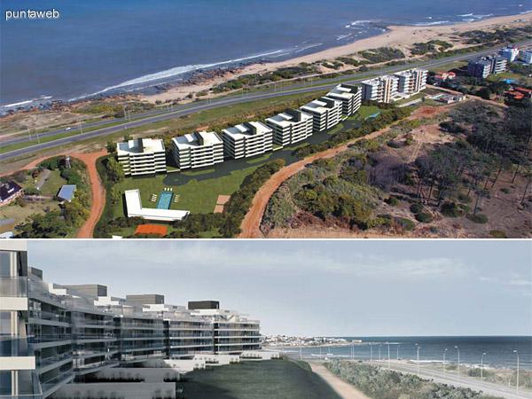 Disposición de los edificios hacia el Océano Atlántico, forma y elevación con respecto la Rambla y el mar.