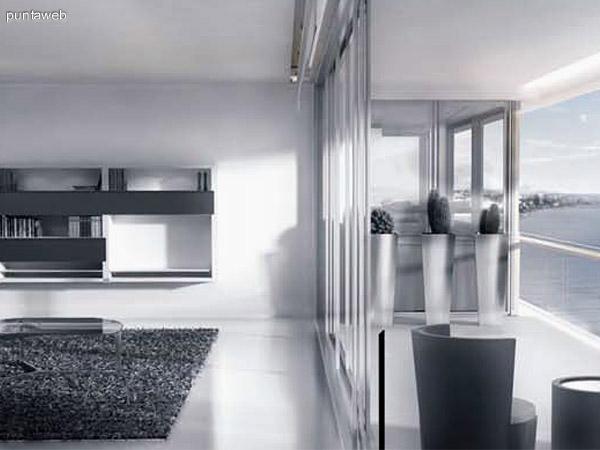 Planteo de cómo se definirá el ambiente del living saliendo a la terraza exterior por puerta ventanas.