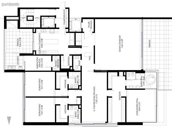 Piso 1ro. de 3 dormitorios en suite más habitación de servicio con baño, toilette, de 509 m2. totales.<br>Con piscina en terraza principal.