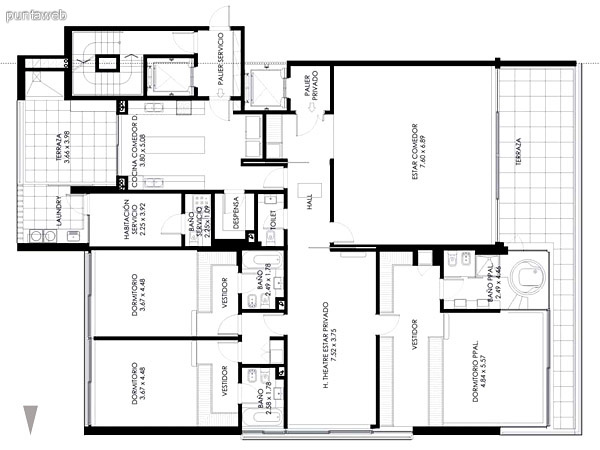 Piso 1ero. de 4 dormitorios en suite más habitación de servicio con baño, toilette, de 509 m2. totales.<br>Con piscina en terraza principal.