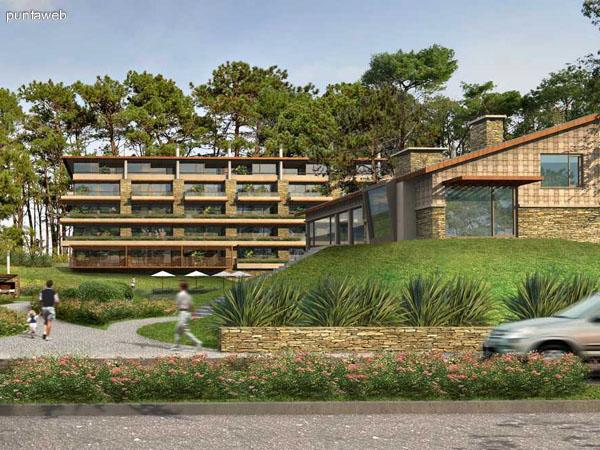 Contrafrente del proyecto, jardín, estacionamientos, piscina exterior, demás servicios.