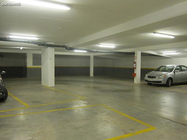 Vista general del garage desarrollado en dos niveles de subsuelo.