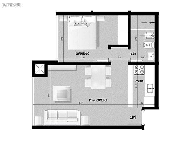 Plano de unidad 03 en primer piso.<br>Un dormitorio con living comedor integrado.