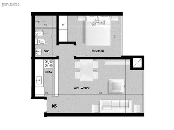 Plano de unidad 04 en primer piso.<br>Un dormitorio con living comedor integrado.<br>