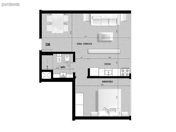 Plano de unidad 05 en primer piso.<br>Un dormitorio con living comedor integrado.