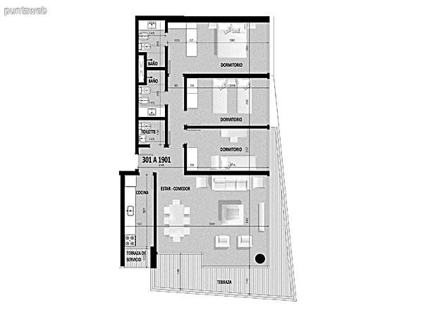 Plano de unidad 01 en segundo piso.<br>Tres dormitorios, principal en suite.<br>Segundo dormitorio con capacidad para dos camas de 2 plazas.<br>Tercer dormitorio con capacidad para una cama de una plaza.<br>Toilette.<br>Cocina exterior con acceso a terraza de servicio.<br>Terraza principal con acceso desde living comedor.