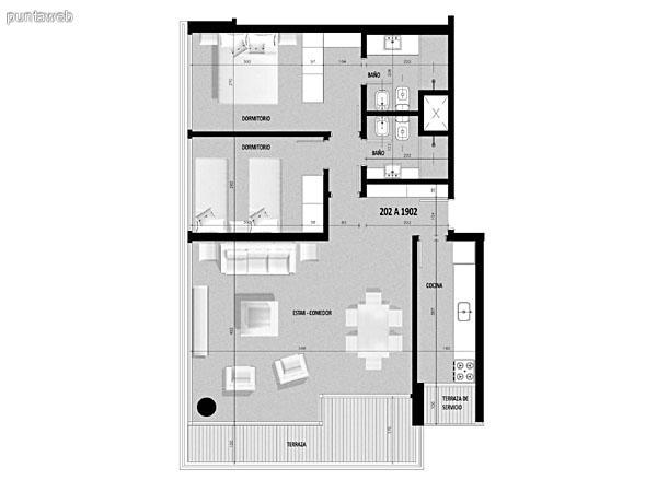 Plano de unidad 01 del tercer al decimonoveno piso.<br>Tres dormitorios, principal en suite.<br>Segundo dormitorio con capacidad para dos camas de 2 plazas.<br>Tercer dormitorio con capacidad para una cama de una plaza.<br>Toilette.<br>Cocina exterior con acceso a terraza de servicio.<br>Terraza principal con acceso desde living comedor.