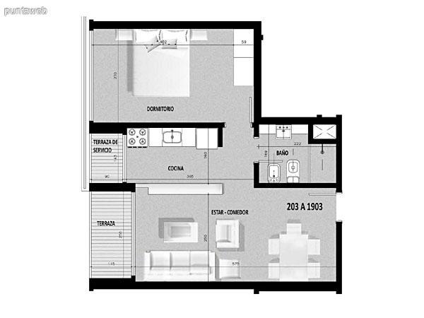 Plano de unidad 02 del segundo al decimonoveno piso.<br>Dos dormitorios en suite, cocina exterior con acceso a terraza de servicio.<br>Terraza principal al frente de la unidad con acceso desde living comedor.