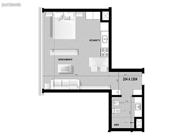 Plano de unidad 03 del segundo al decimonoveno piso.<br>Un dormitorio, cocina con acceso a terraza de servicio.<br>Terraza principal con acceso desde living comedor.