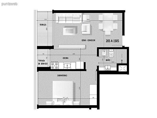 Plano de unidad 04 del segundo al decimonoveno piso.<br>Un dormitorio con living comedor integrado.