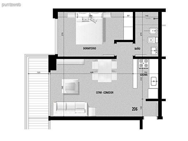 Plano de unidad 05 del segundo al decimonoveno piso.<br>Un dormitorio, cocina con acceso a terraza de servicio.<br>Terraza principal con acceso desde living comedor.