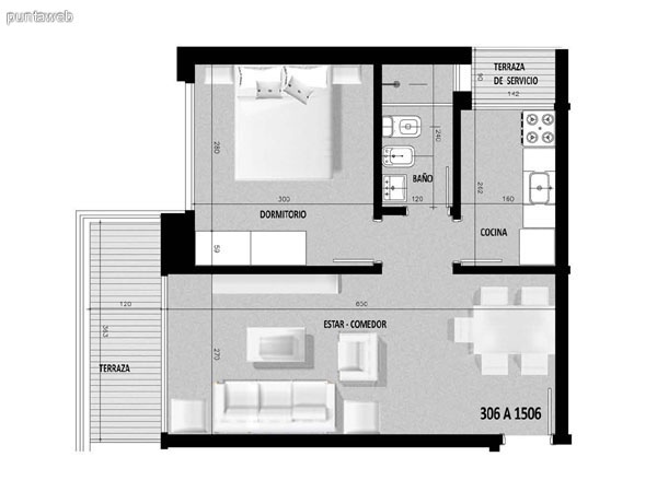 Plano de unidad 06 en segundo piso.<br>Un dormitorio con living comedor y acceso a terraza principal desde el ambiente.