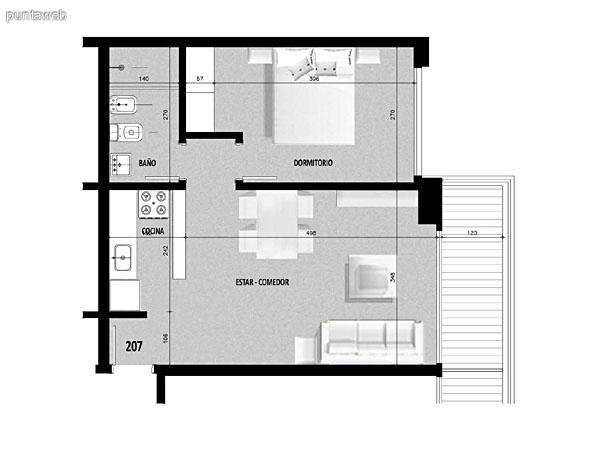 Plano de unidad 06 del tercer al decimoquinto piso.<br>Un dormitorio, cocina con acceso a terraza de servicio.<br>Terraza principal con acceso desde living comedor.