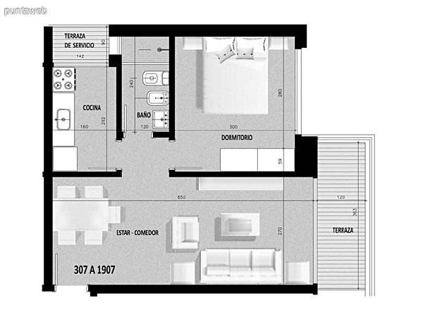Plano de unidad 07 en segundo piso.<br>Un dormitorio, cocina con acceso a terraza de servicio.<br>Terraza principal con acceso desde living comedor.