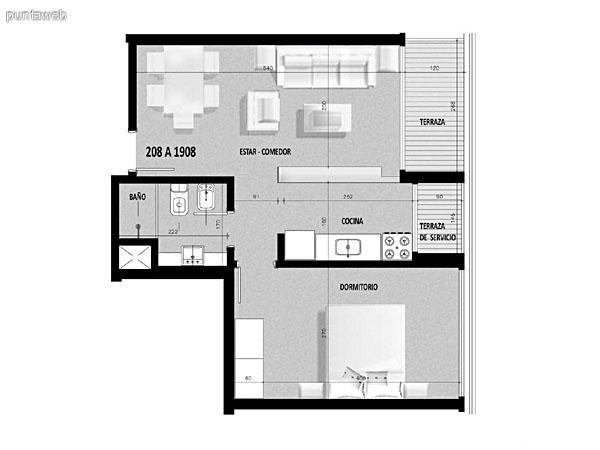 Plano de unidad 07 del tercer al decimonoveno piso.<br>Un dormitorio, cocina con acceso a terraza de servicio.<br>Terraza principal con acceso desde living comedor.