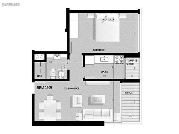 Plano de unidad 08 del segundo al decimonoveno piso.<br>Un dormitorio, cocina con acceso a terraza de servicio.<br>Terraza principal con acceso desde living comedor.