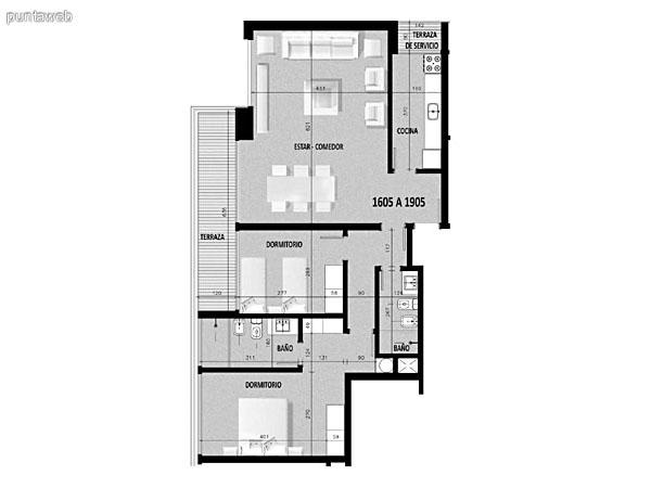 Plano de unidad 09 del segundo al decimonoveno piso.Un dormitorio, cocina con acceso a terraza de servicio.<br>Terraza principal con acceso desde living comedor.