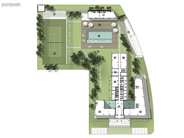 Zona de piscina y contrafrente del edificio.