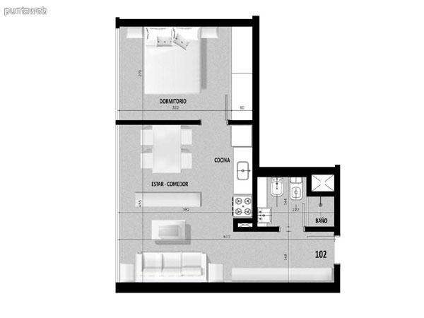 Plano de unidad 01 en primer piso.<br>Un dormitorio con living comedor integrado.