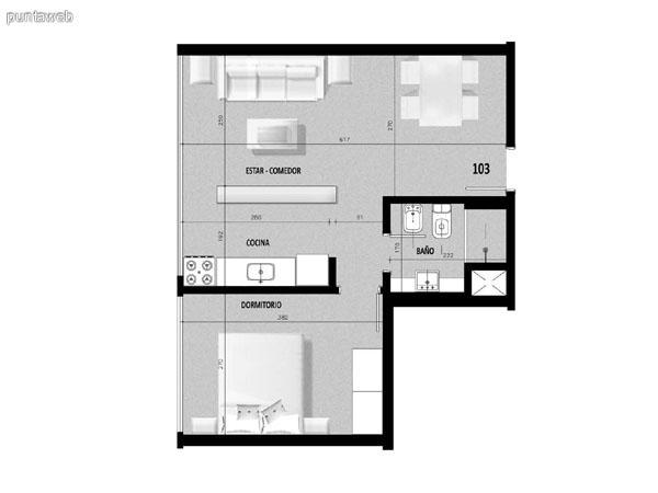 Plano de unidad 02 en segundo piso.<br>Un dormitorio con living comedor integrado.
