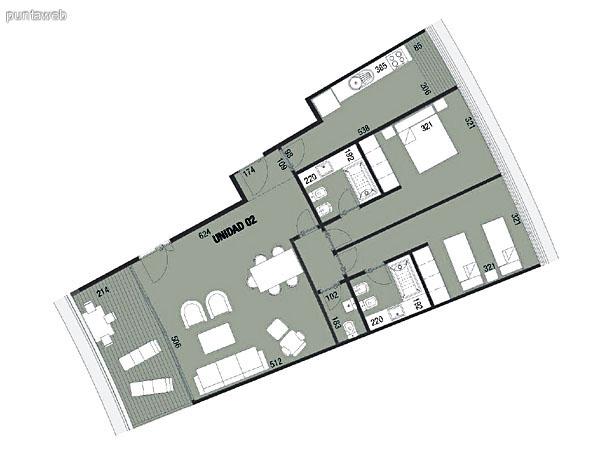 Planos de unidad 01.<br>Tres dormitorios en suite, cocina exterior con acceso a terraza de servicio.<br>Living comedor integrados con acceso a terraza principal.<br>Toilette.