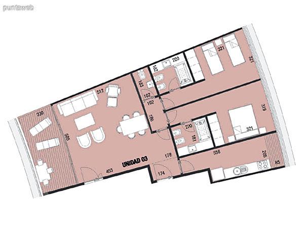 Planos de unidad 03.<br>Dos dormitorios en suite, cocina exterior con acceso a terraza de servicio.<br>Living comedor integrado con acceso a terraza principal.<br>Toilette.