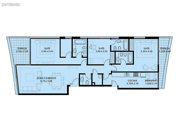 Plano de planta de 3 dormitorios con 4 baños (3 suites + baño social), doble terraza y habitación de servicio con baño.