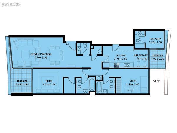 Plano de planta de 3 dormitorios con 4 baños (3 suites + baño social), totalmente exterior al ser esquinero.