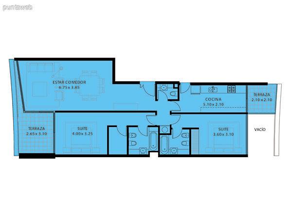Plano de planta de 2 dormitorios con 3 baños (2 suites + baño social, habitación de servicio con baño y dos terrazas.