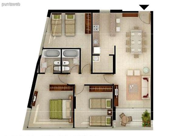 Unidad de 3 dormitorios.<br>Dormitorio principal en suite, posee vistas exteriores y baño completo de correctas dimensiones.<br>Segundo y tercer dormitorio comparten baño completo interior.<br>Cocina exterior con 2 mesadas en linea con despensa.<br>Living comedor, de excelentes dimensiones integrado a la cocina mediante una barra desayuador.,acceso a terraza desde el ambiente.<br>