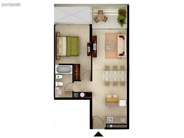 Unidad de 1 dormitorio.<br>Baño completo, cocina estilo americano integrando el comedor y el living.<br>Living comedor con acceso a terraza propia.