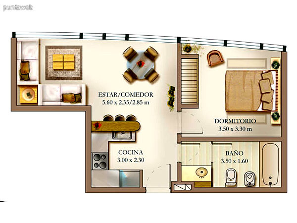 Plano de unidad 3 dormitorios.<br>Principal en suite con vestidor, bao completo con baera.<br>Segundo y tercer dormitorio comparten segundo bao completo, ventilacin por ducto y baera.<br>Cocina con mesada en linea y barra desayunador.<br>Living comedro de excelentes dimensiones y zona de estar.