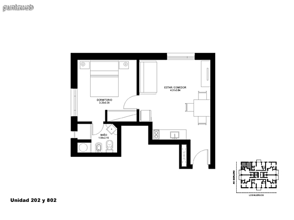 Unidad 202 y 802, unidad de un dormitorio sin acceso a terraza.