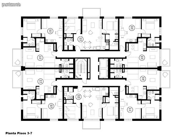 Plano de plantas del piso 3 al piso 7.