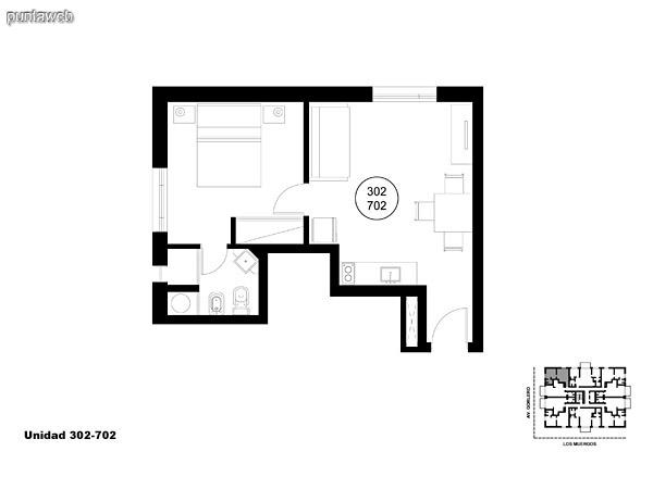 Unidad 302 y 702, unidad de un dormitorio sin acceso a terraza.