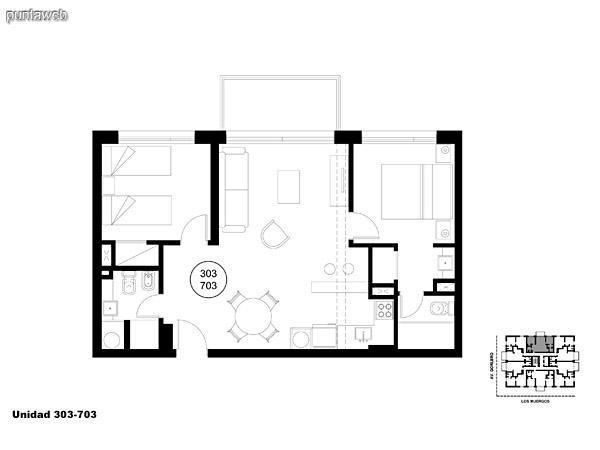 Unidad 303 y 703, unidad de dos dormitorios, principal en suite y segundo dormitorio con baño completo que puede ser usado como baño social.<br>Acceso a terraza.