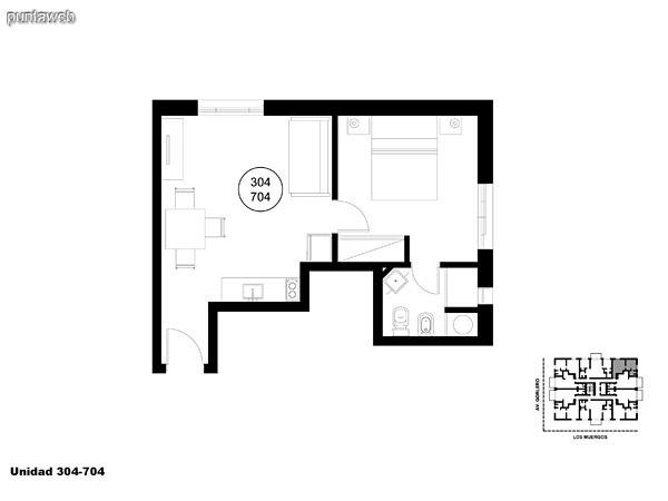 Unidad 304 y 704 unidad de un dormitorio sin acceso a terraza.
