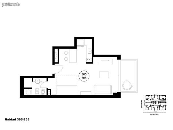 Unidad 305 y 705, monoambiente con acceso a terraza.